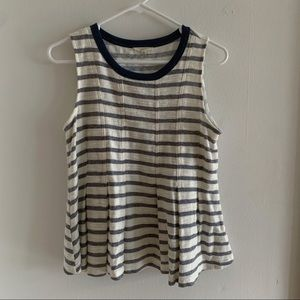 Mystree Grey & White Striped Peplum Top - Size S